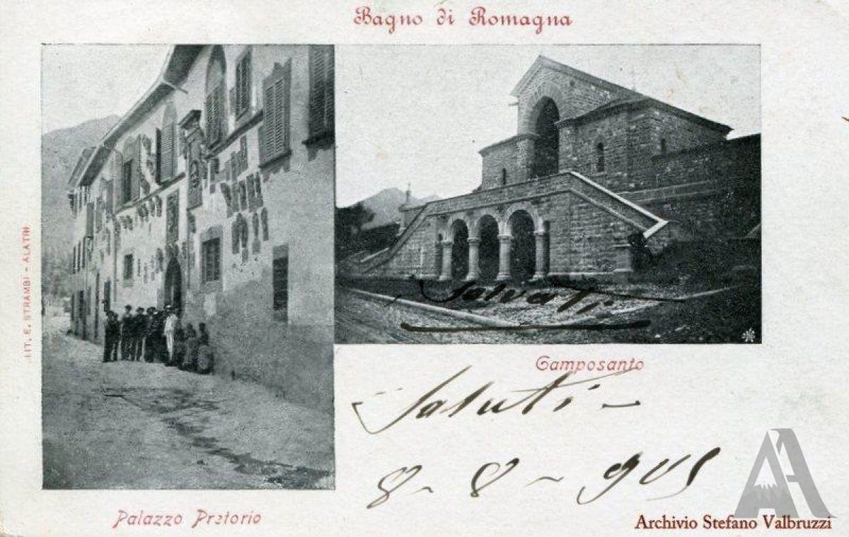 Cartolina – Colore grigio, cm 9x14. Viaggiata – Da Bagno per Bologna, 08/08/1905. Francobollo – Aquila Sabauda, C. 2, colore rosso bruno. Timbro – Tondo riquadrato.